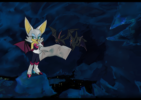 Rouge and bats [ver.2.0] by Krokodilov