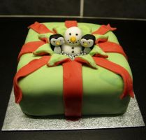 Exploding Christmas Present Cake by sparks1992