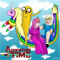 Adventure Time - FinnXBubblegum and JakeXRainicorn by Timagirl