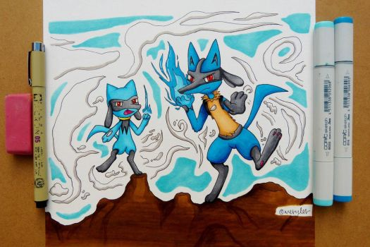 Lucario and Riolu  by Wergler