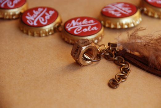 Golden Nuka Cola Necklace with Charm 2 by appleofecstacy