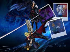 kingdom hearts cloud and sephiroth by LumenArtist