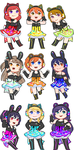 Love Live Cyber Chibi Stickers by Cicre