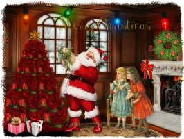 Santa Helping Decorate The Tree by artistic-touches