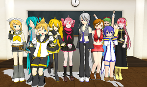 MMD: Lucky Vocaloids + Pose DL by StellatheAlchemist