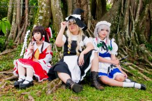 Shrine maiden, magician and a maid by Hitomi-Cosplay