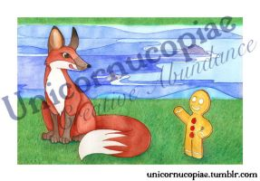 Fox and The Gingerbread Man: Limited Edition Print by unicornucopiae
