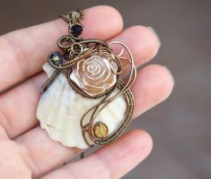 Neo-Victorian wire wrapped sea shell pendant by IanirasArtifacts