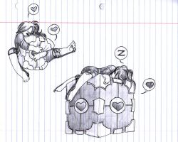 Companion Cube and Chibi Me by Tal-Ki