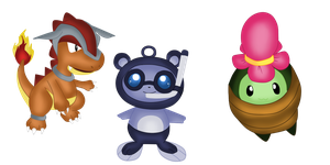 Contest entry Fakemon starters by twinlightownz