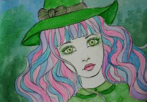 green eyes, pink hair by paula-the-cat