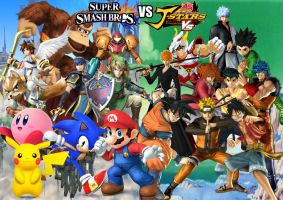 Super Smash Bros vs J Stars Victory VS by SuperSaiyanCrash