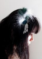 green  feather headpiece by yinco