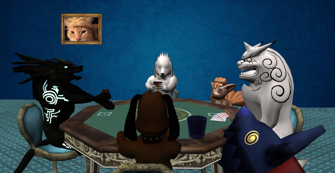 Request #1351 Doggies playtling Poker by MichaelJordy