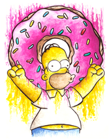 Homer Simpson and his Donut by Gatohy
