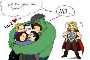 The Avengers Hug by lizbomb