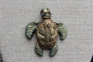 Lotus Turtle Magnet by chromegoddess