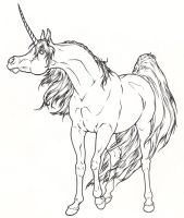Arabian Unicorn Lineart by ReQuay
