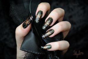 Pitch Black Inspired Nail Art by Silyah246