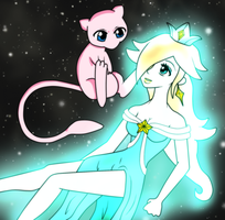 Mew and Rosalina by xBooxBooxBear