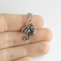 Tiny Dragon Necklace by MonsterBrandCrafts