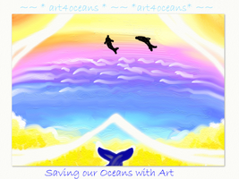 Sunset Dolphins Wallpaper by art4oceans