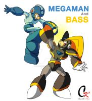 Megaman And Bass by RedCaliburn