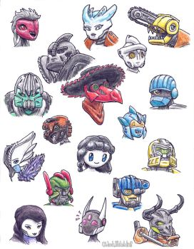 Bunch of Busts of Bionicle Buds by OhLookItsAnArtist