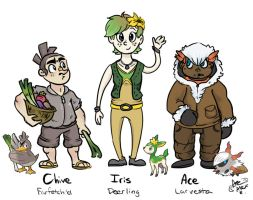 Pokemon Gijinkas - First Attempt by Olive-Owl