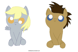 Cute Derpy Hooves and Doctor Whooves by ChibiDashie