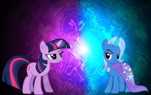 Twilight Sparkle and Trixie Wallpaper by MapaFapa