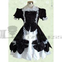 Sweet Puff Sleeves Bow Black And White Lolita Cosp by haluson