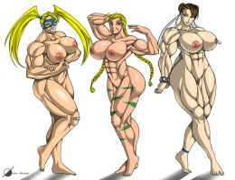 Commission: Muscle Girls nude by Osmar-Shotgun