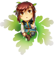 Chibi Ilex on a leaf by MidoriGale