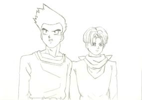 Trunks and Goten lineart by saritacrazy