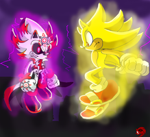Super Sonic vs DarkCrisam Saro by SaroTheHedgehog