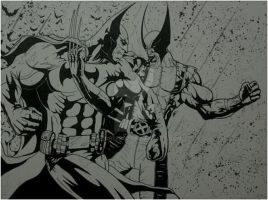 BATMAN VS WOLVERINE INKED by BUMCHEEKS2