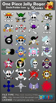 One Piece Jolly Roger Dock and Folder Icons by by knives1024