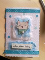 Cat Face Xmas Card by PossumPip-Creations