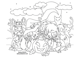 Halloween Lineart For Coloring by Daieny