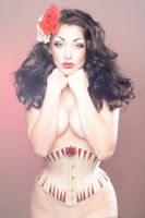 antique reproduction corset ivory underbust by AtelierSylpheCorsets