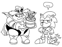 Robotnik gives Sonic a cake by Beau-Skunk
