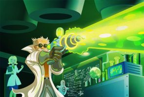 Mad Scientist with Plasma Ray by d-art-studios