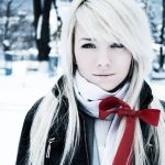 Girl in snow by graffitixskies