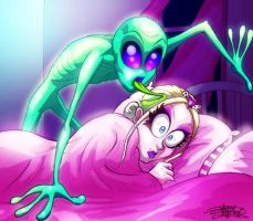 Alien licking my head by Countess-Grotesque