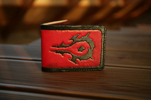 Horde damaged leather bifold wallet by Arnakhat