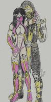 Scorpion and Mileena (colored) by NeonDeathreatxD
