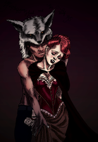 Miss Red and her Wolf Man by Comical1