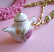 Floral Tea Pot Necklace by FatallyFeminine