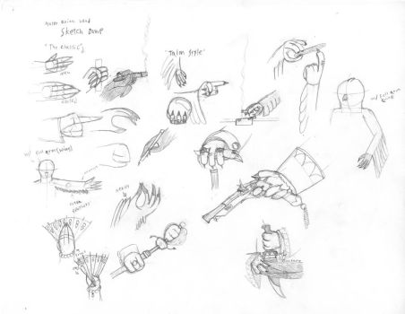 Avian hand sketch dump by Axol-The-Axolotl